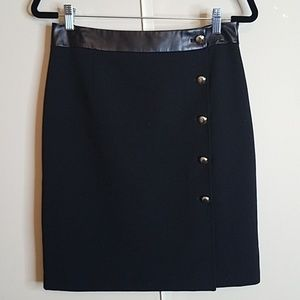Black skirt with leather trim and gold buttons